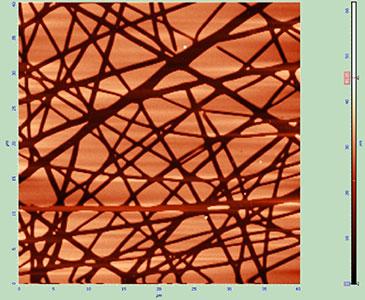 Nanofibres patterned using polymer brushes